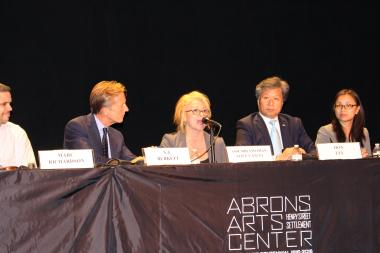 Cancel and the five other candidates responded to questions from a panel of locals and activists as well as audience members.