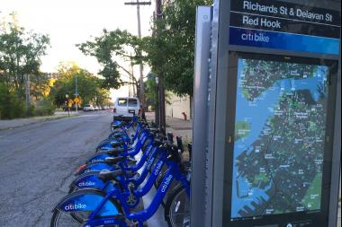 A Citi Bike station at Richard and Delevan streets in Red Hook.