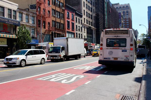 Select Bus Service Lanes Along 23rd Street Painted By City