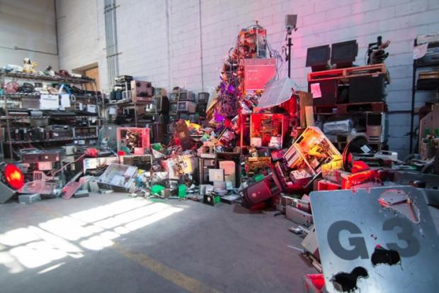 An installation by Taezoo Park, a 2015 artist-in-residence at the Lower East Side Ecology Center's Gowanus e-waste warehouse.