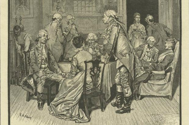 Mary Lindley Murray entertains British officers at her home. According to legend, the tea party was a ploy to allow American forces time to escape.