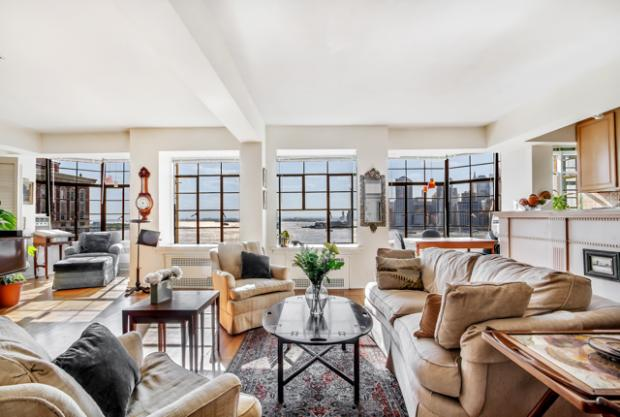 This three-bedroom, three-bath co-op at 57 Montague St., with a 500-square-foot terrace overlooking the New York Harbor and Lower Manhattan, is on the market from Compass for $2.995 million.