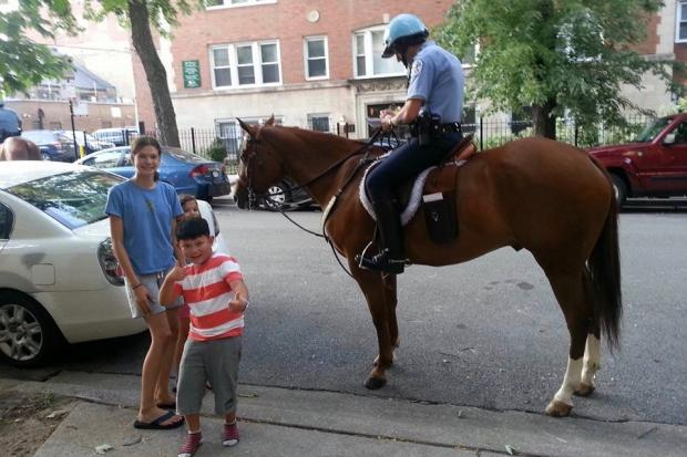 A mounted Chicago police officer was writing traffic tickets in Lakeview last week.