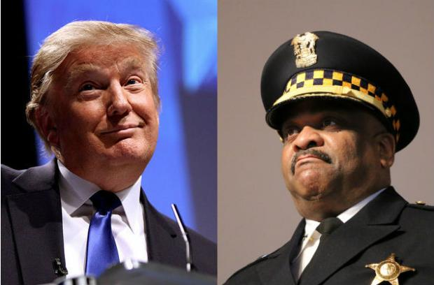 Republican presidential nominee Donald Trump (l) and Chicago Police Supt. Eddie Johnson