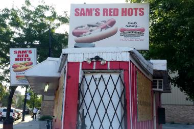 Sam's Red Hots in Bucktown is all boarded up.