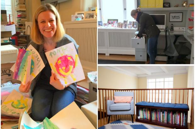 Dawn Nadeau, an Upper West Side mom, who is a client of Maeve's method, getting her space and her kids' space organized (left-to-right) by going through old artwork, creating a