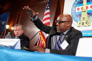State Sen. Kwame Raoul speaking at a City Club of Chicago luncheon