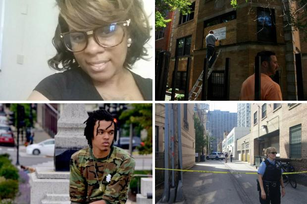 From top left, clockwise: murder victim Nykea Aldridge, the site of an arson fire that killed four in South Chicago, the site of a fatal shooting in South Loop and murder victim Arshell Dennis III.