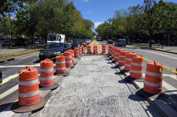 Two Eastern Parkway pedestrian islands were removed in preparation for the West Indian Day Parade, the DOT said, including this one at Kingston Avenue.