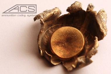 A picture of a bullet with a serial number engraved in it. A proposed bill would require bullets to have serial numbers.