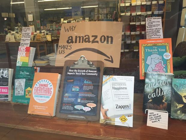 Women & Children First posted a display criticizing Amazon in its Andersonville storefront.