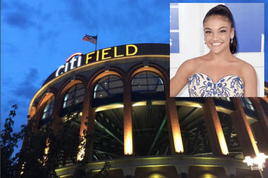 U.S. Olympian Laurie Hernandez wowed the Citi Field crowd with a flip before her first pitch Saturday.