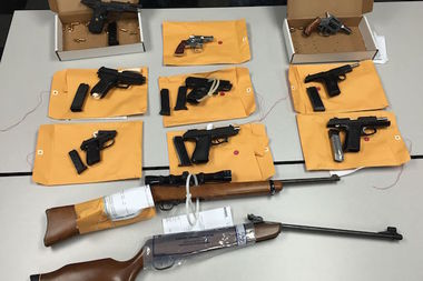 Eleven guns were confiscated in the operation, police said.