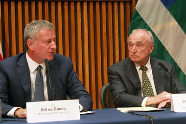 Mayor Bill de Blasio and NYPD commissioner Bill Bratton held their monthly crime stat briefing at One Police Plaza Tuesday, Sept. 6, 2016.