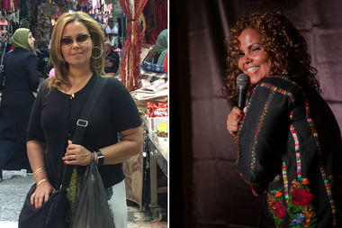 Chicago comic Mona Aburmishan is coming back to the city this week after taking her stand-up routine on a tour of the Middle East. Left: She poses in the historic market in Jerusalem.
