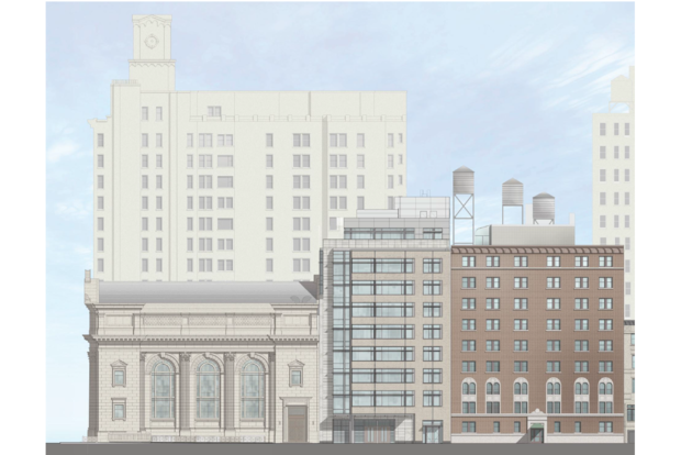 Congregation Shearith Israel wants to build a nine-story community center with five condos on the top stories directly behind its synagogue on West 70th Street.