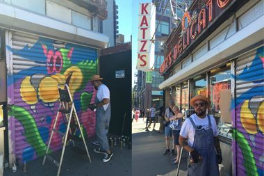 Street artist L'Amour Supreme will soon complete his colorful mural outside Katz's Deli, bringing the ambitious 100 Gates Project across the finish line.