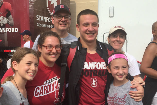 Stanford's Lewis Burik with his family after the Cardinal's game at Northwestern last season. Burik, of Old Town, was a longtime Latin School of Chicago student before transferring to Saint Ignatius for high school.