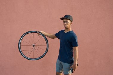 ​Nikolas Padilla's wheel was busted after a driver backed over it, he said.