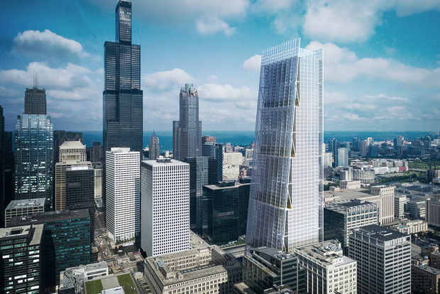 Sterling Bay Cos. wants to build this tower next to Union Station. The station, which is undergoing a major redevelopment, is expected to pick a developer in the winter.