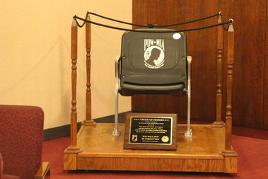 The City Council adopted an empty chair to honor POW-MIAs in July.