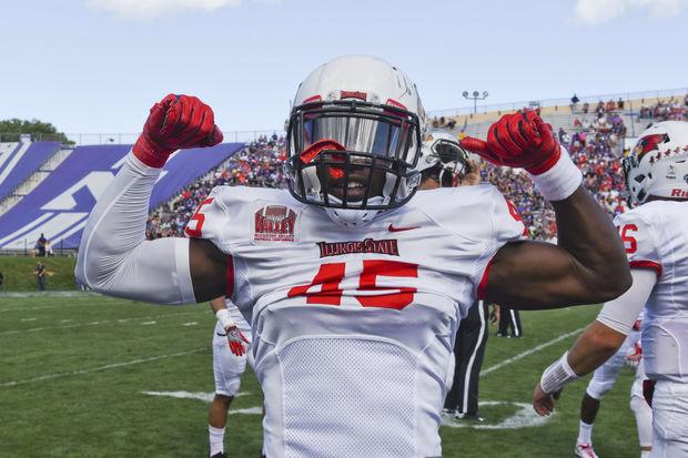 Illinois State's James Graham, a Chicago native, celebrates the Redbirds' upset win at Northwestern.