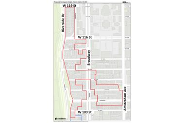 This map shows the boundaries of the proposed Morningside Heights Historic District.