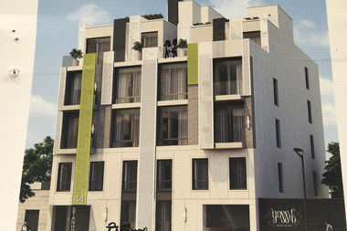 A rendering at 44 Stanhope says the building will be completed by Winter of 2017.