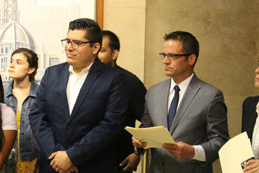 Ald. Carlos Ramirez-Rosa (35th) (l). and Ald. Proco Joe Moreno (1st) are among a group of five aldermen seeking to fund local schools through a TIF surplus.