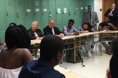 Schools Chancellor Carmen Farina and NYPD Chief William Bratton sit in a restorative justice circle class at the Leadership and Public Service High School in the Financial District.