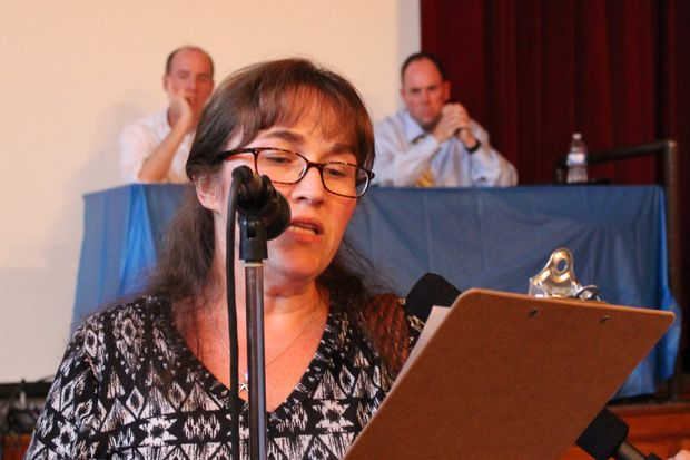 Mary Hughes spoke Thursday night about the potential impact of a proposed school restructuring program in the 19th Ward. Hughes was concerned about special needs students.