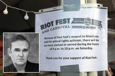 Riot Fest, which has many meaty food options for the three day punk rock extravaganza, cut off meat sales between 8 and 10 p.m. Saturday