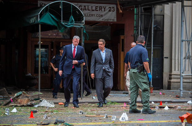 Gov. Andrew Cuomo and Mayor Bill de Blasio tour the area affected by a bomb in Chelsea.