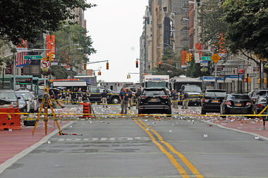 Near the scene of a bombing in Chelsea that injured 29 people. Investigators want to know who caused the blast and whether a second device found was a bomb.