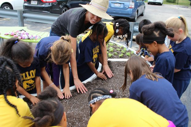 Students at Kellogg Elementary School in Beverly installed an Edible Learning Garden Friday. The garden features plants that the students will be able to take home and eat.
