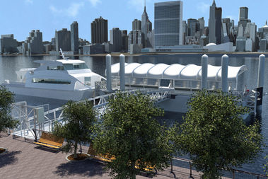 A rendering of the future Long Island City North ferry landing, which will open in 2017 at the northern end of Gantry Plaza State Park.