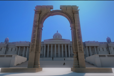 The 30,000-pound replica of the Triumphal Arch of Palmyra.