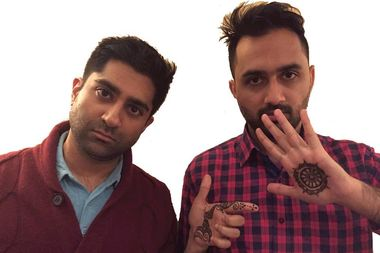 Comedian Saurin Choksi, left, and DJ Sareen Patel, right, co-host a monthly comedy show