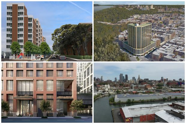 Clockwise from top left: Renderings of the Sherman Plaza development in Inwood and Phipps development in Sunnyside, both of which were killed by the City Council; Gowanus, where the city is studying a potential rezoning where MIH would apply; a proposed development at the St. John's Terminal across from Pier 40 in Hudson Square that would contribute nearly 500 new units of affordable housing to de Blasio's 80,000-unit goal.