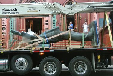 The Lenin statue was spotted in a truck bed outside the Angel Orensanz Center at 172 Norfolk Street on the morning of Sept. 20.