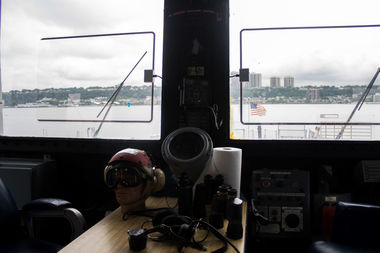 The ship has much of its antiquated radio equipment in tact and offers distant views of the river and New Jersey.