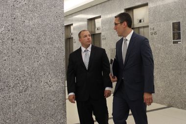 Nicholas Batka (left) and his attorney Michael Farkas entered the courtroom on Wednesday for Batka's arraignment on aggravated vehicular homicide charges.