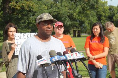 Charles Holder speaks on behalf of Tent City Voices Heard Wednesday, Sept. 21.