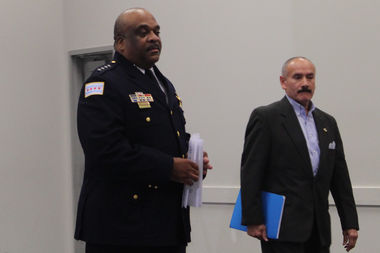 Police Supt. Eddie Johnson and Ald. Ariel Reboyras, chairman of the Public Safety Committee, walk into Wednesday's news conference.