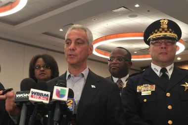 Mayor Rahm Emanuel gave a preview of his anticipated Thursday speech on public safety Wednesday at Malcolm X College.