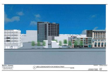 The preliminary design of an apartment tower planned just west of the Division and Ashland intersection.