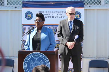 Bronx District Attorney Darcel Clark and Department of Correction Commissioner Joseph Ponte spoke at Thursday's official opening of her office's bureau on Rikers Island.