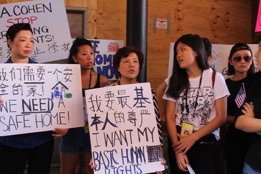 Xiao Ling Chen joined fellow tenants in a rally outside 135 Eldridge Street on Thursday.