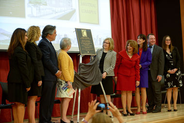 Officials from the Department of Education and the Gabriela Mistral Foundation dedicate a new school campus in honor of the poet.