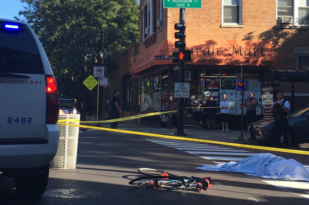 A woman riding her bike was killed in the intersection of Damen and Addison Monday, Sept. 26, 2016.